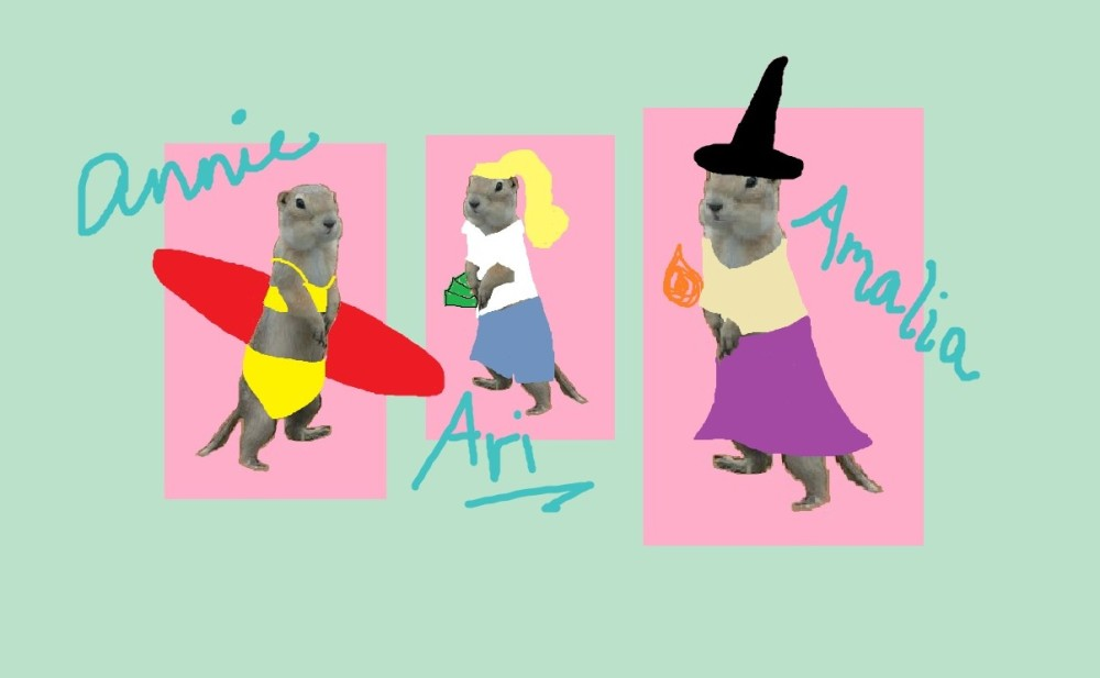 three gophers - one dressed as a surfer, one with a blond ponytail holding cash, and one dressed as a witch