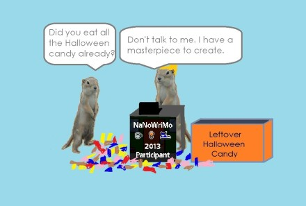"one gopher says ""Did you eat all the Halloween candy already?"" and the writing gopher responds, ""Don't talk to me. I have a masterpiece to create."""